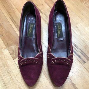 Sesto Meucci Burgundy Suede Pointed Toe Flats